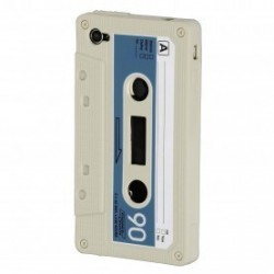 Coque Cassette Blanche iPhone 4 4s