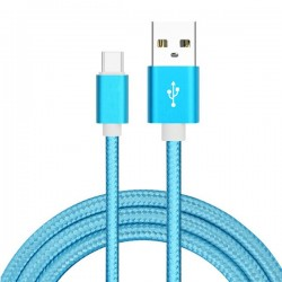 Cable USB Type C Tressé 1m Bleu