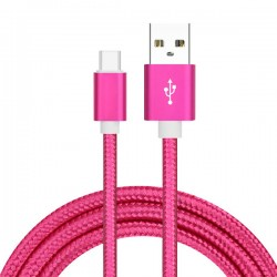 Cable USB Type C Tressé 1m Rose