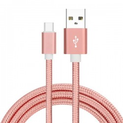 Cable USB Type C Tressé 1m Rose Gold