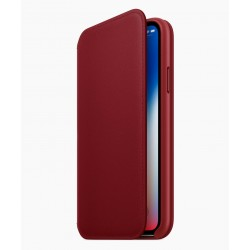 Etui Folio Cuir Rouge iPhone X